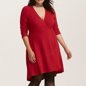 Torrid Faux Wrap Red Dress Size 2X